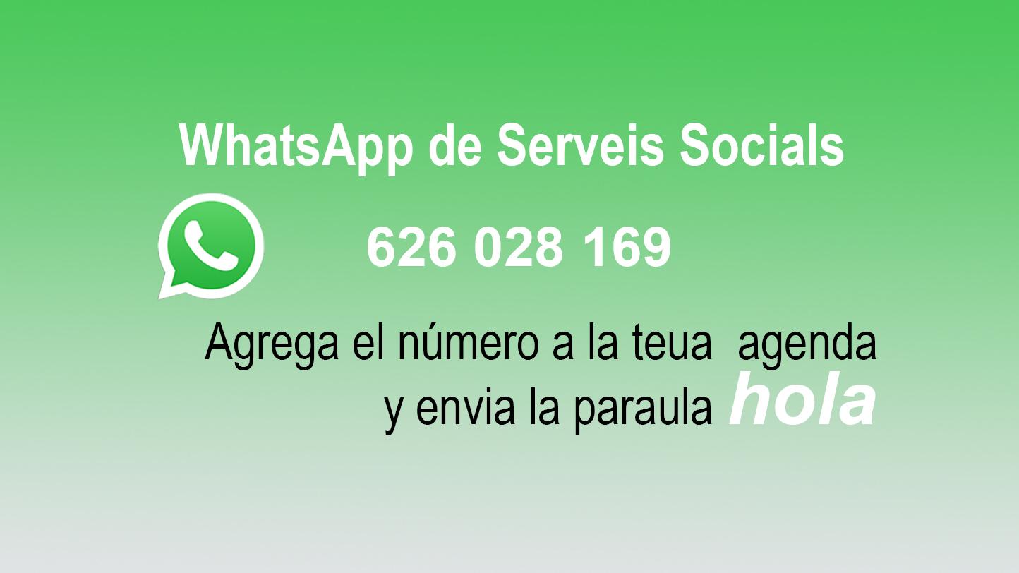 Resol els dubtes més freqüents relacionades amb els Serveis Socials Municipals des d'aquest assistent virtual en WhatsApp.